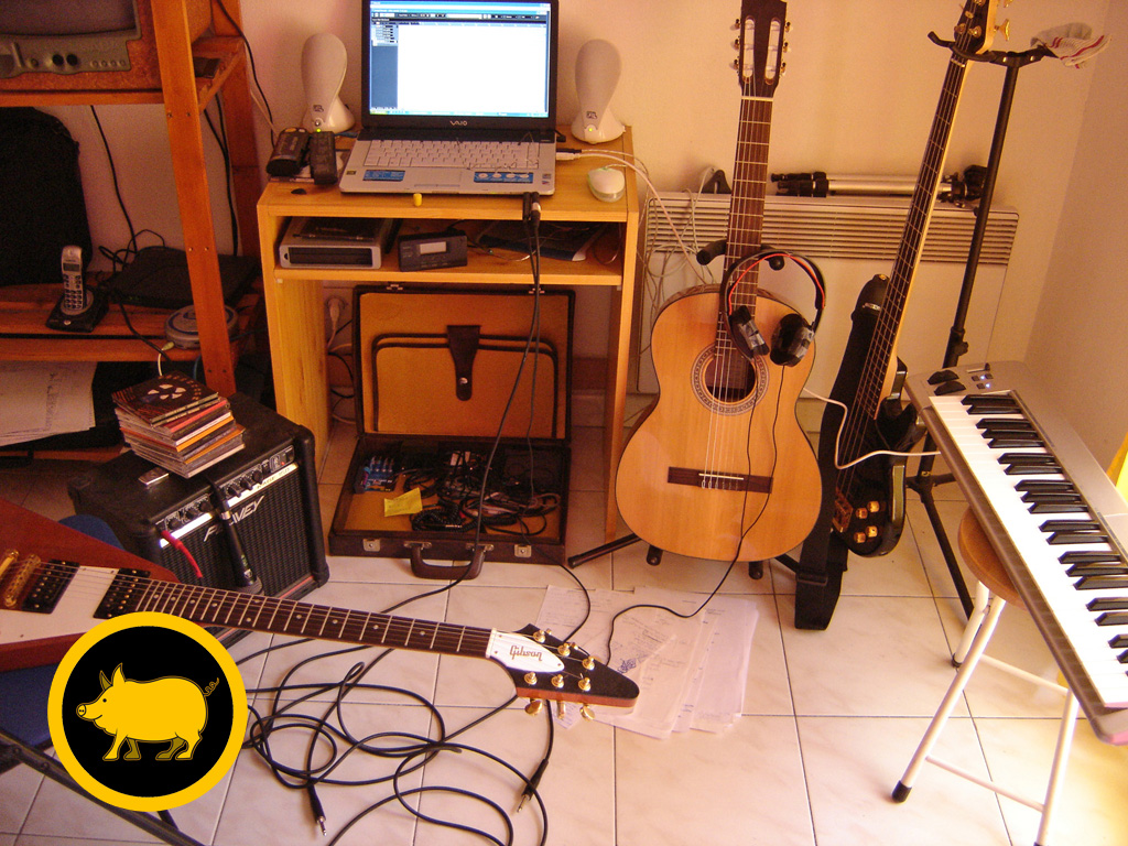 premiers essais d'enregistrements au studio du tabouret (Nice 2006)